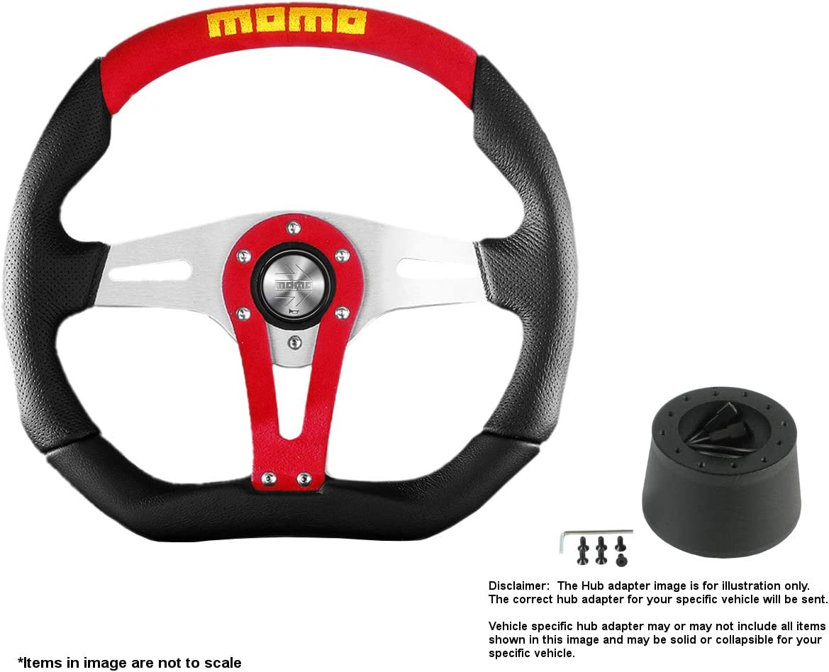 MOMO Trek Red 350mm (13.78 Inches) Leather Steering Wheel w/Brushed Aluminum Spokes and Crowder's Hub Adapter for Alfa Romeo Spider Duetto Part # TRK35BK0R + 0512