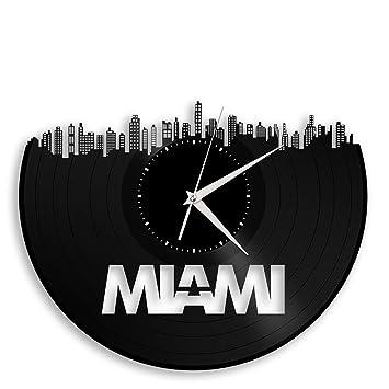 Amazon.com: Miami Vinyl Wall Clock Cityscape Vintage Room Decor ...