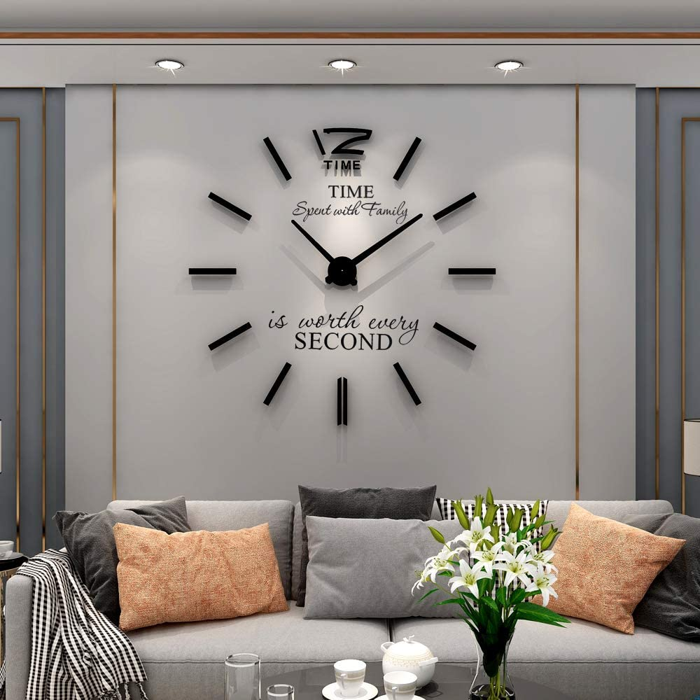 YIJIDECOR 3D DIY Wall Clock for Living Room Decor Acrylic Mirror Sticker Large Wall Clocks Battery Operated Modern Home Decoration for Office Bedroom Classroom,Black 47