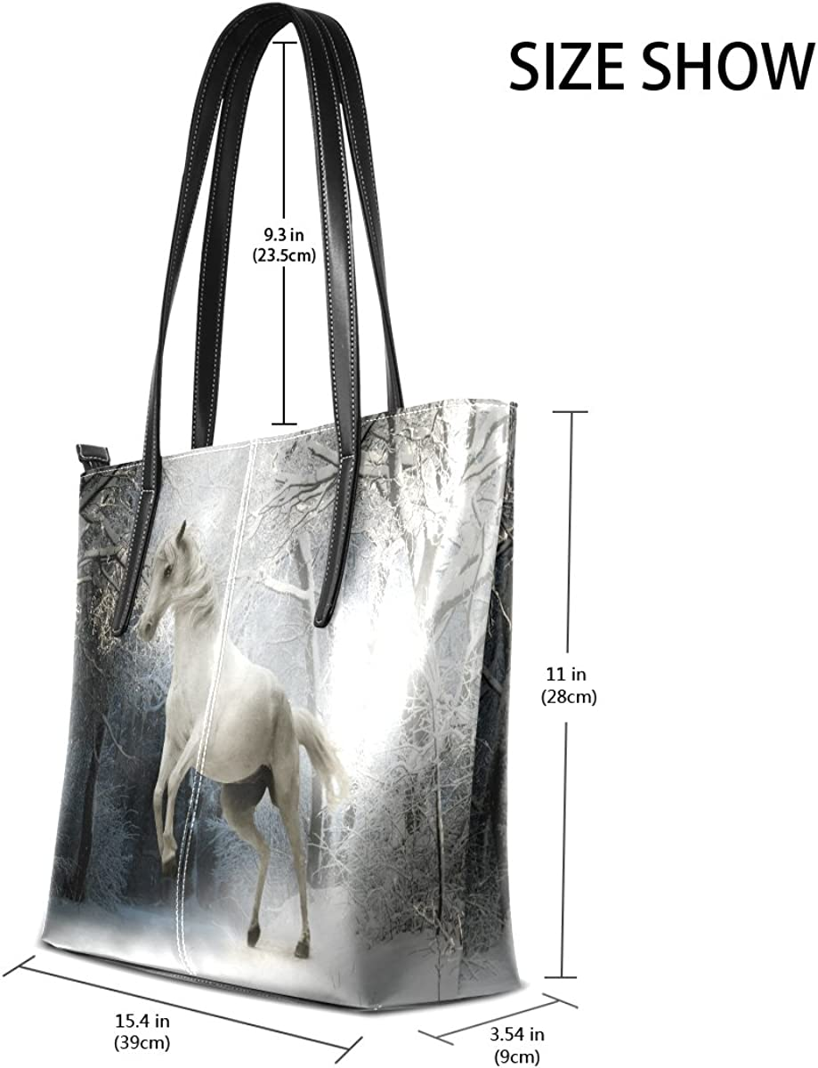 Ethel Ernest Womens Purse Jumping White Horse Winter PU Leather Shoulder Tote Bag