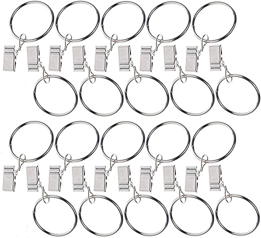 GCA Metal Curtain Clip Rings,20 Pieces Metal Drapery Curtain Rings with Clips