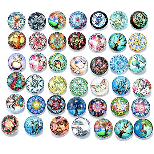 Ginooars Pack of 30 Mixed Style Glass Snaps Charm Buttons 18/20mm for Interchangeable Snaps Jewelry ()