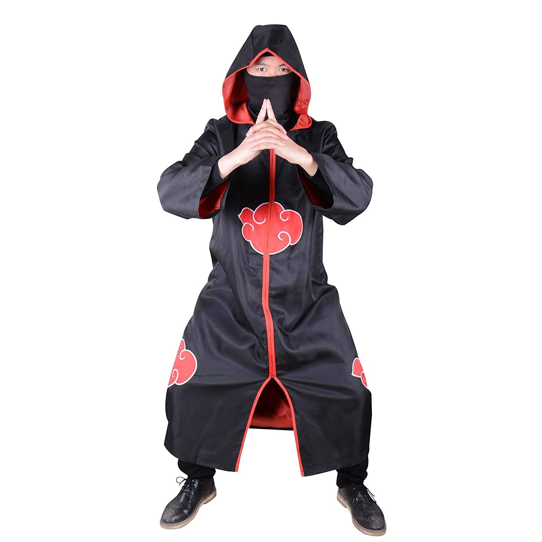 Amazon.com: Unisex Akatsuki Cloud Cosplay Costume Uniform ...
