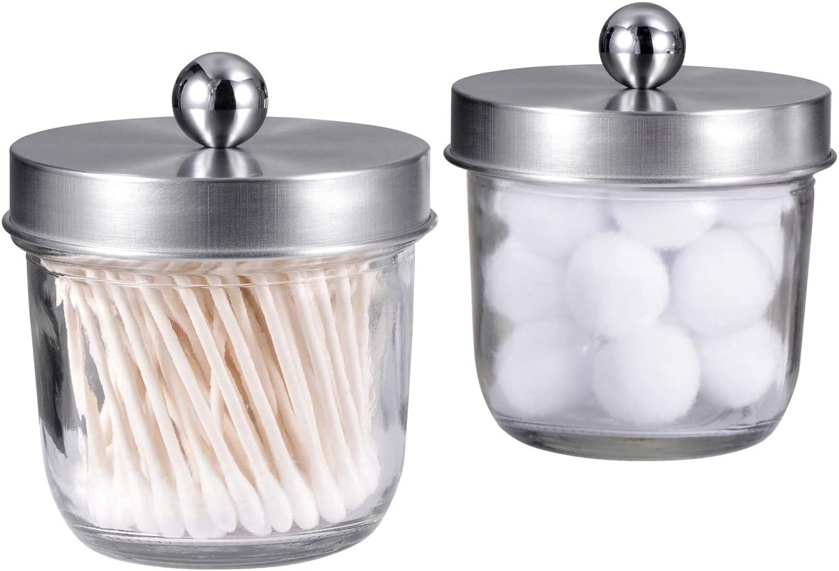 Mason Jar Bathroom Vanity Organizer - Farmhouse Decor Apothecary Jars Bathroom Accessories - Qtip Holder Dispenser Glass for Qtips,Cotton Swabs,Rounds,Flossers,Hair Band / 2-Pack (Brushed Nickel)