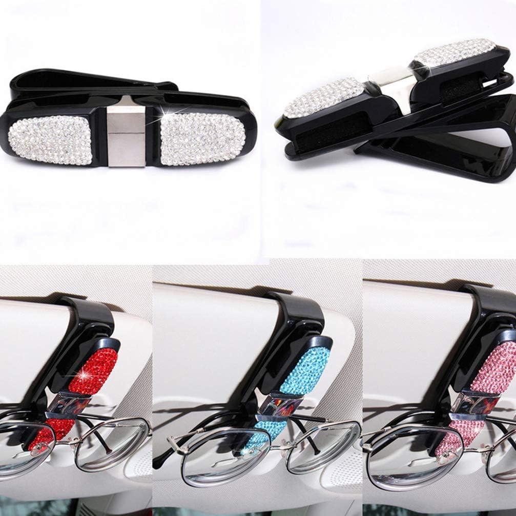 2 Pack Sunglasses Holder Clip Hanger Eyeglasses Mount for Car Healilly Glasses Holder for Car Sun Visor White Double-Ends Clip and 180/° Rotational Car Glasses Holder
