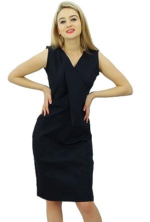 327871763c49 Bimba Women s Casual V neck Slim Bodycon Formal Work Pencil Dress Sleeveless