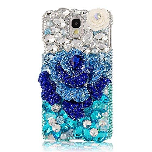 EVTECH (TM) Coque 3D Bling Strass Case Transparent Back Cover Cristal Etui Housse Hard Coque pour Samsung Galaxy Note 4 SM-N910S, SM-N910C