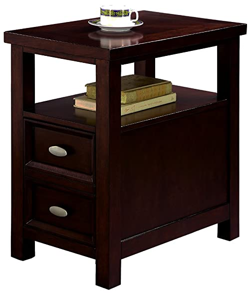 Narrow Side Table Sofa Accent Brown End Coffee Night Stand Drawer Storage  Single U0026 EBook By