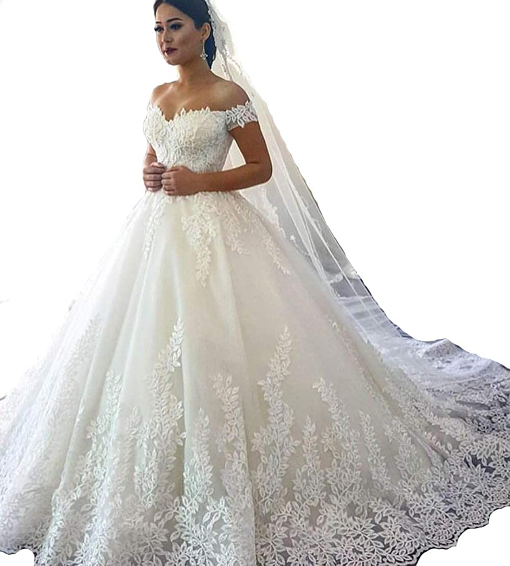 Ryanth Lace Wedding Dresses For Women Bride 2018 Ball Gowns White