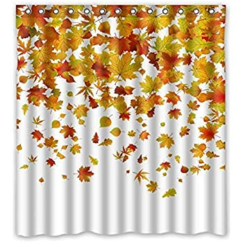 Perfect Fashion Shower Curtains   Romantic Autumn The Fall Of Maple Leaves   Custom  Personalized Bathroom Curtains