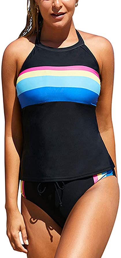 1980s Clothing, Fashion | 80s Style Clothes Blibea Womens Retro Stripes Halter Neck Sporty Tankini Set Boyshorts Swimsuits $29.99 AT vintagedancer.com