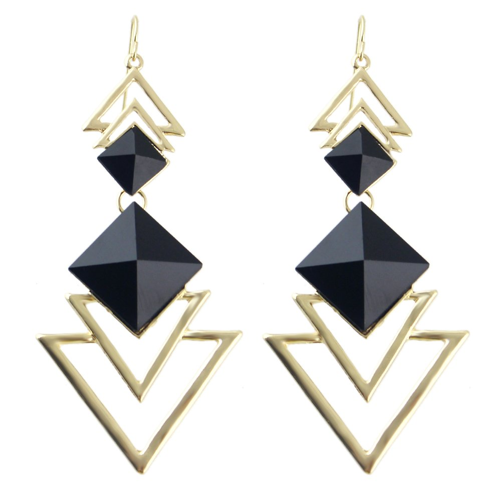 Feelontop® Beautiful Bijoux Style Imitation Gemstone Triangle Long Drop Earrings with Jewelry Pouch Er-7258