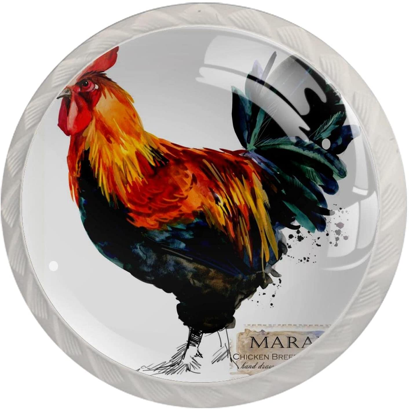 Cabinet Knobs 4pcs Crystal Glass Pull Handles,Rooster,for Open Furniture Door or Drawer