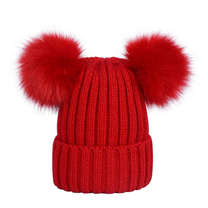 b2d2e40d8c0af5 Lau's Women's Warm Winter Ribbed Knit Bobble Hat with Navy Faux Fur Double  Pom Pom Beanie: Amazon.co.uk: Clothing
