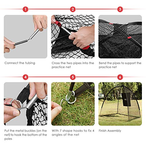Amzdeal Golf Practice Net Golf Driving Hitting Net for Backyard Indoors Outdoors Golf Cage Trainging Aids with Target Sheet by Amzdeal (Image #3)