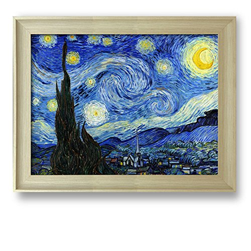 Starry Night by Vincent Van Gogh Framed Art Print Famous Painting Wall Decor Natural Wood Finish Frame