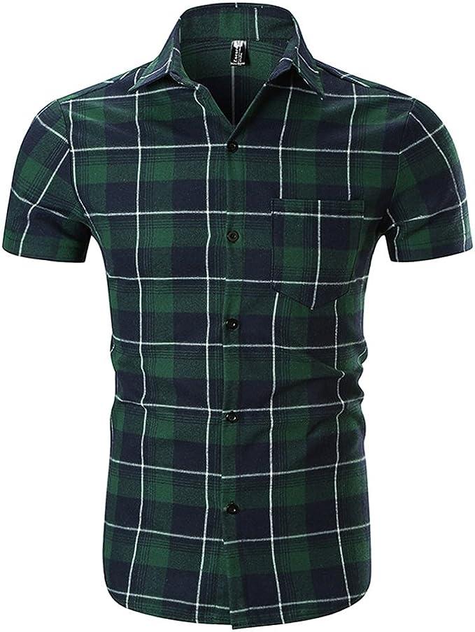 Bleu//blanc pur coton à manches courtes Carreaux Chemise-Taille 20-22