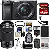 Sony Alpha A6300 4K Wi-Fi Digital Camera & 16-50mm & 55-210mm Lenses (Black) 64GB Card + Case + Flash + Battery + Charger + Grip + Tripod + Kit