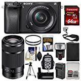 Cheap Sony Alpha A6300 4K Wi-Fi Digital Camera & 16-50mm & 55-210mm Lenses (Black) with 64GB Card + Case + Flash + Battery + Charger + Grip + Tripod + Kit
