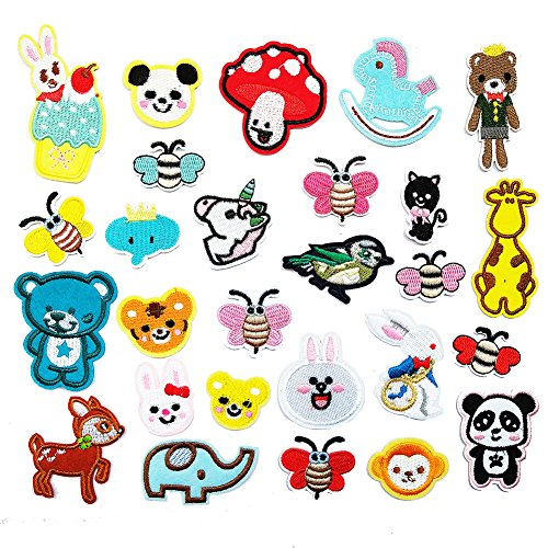 Czorange 27pcs Animals Iron On Patches Pack for Kids Decoration Sew On Patches for DIY Jeans Jacket, Clothing, Handbag, Shoes,Caps