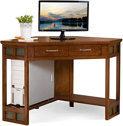 Leick Furniture KD Furnishings Rustic Oak Slate Corner Computer/Writing Desk