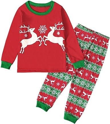 MEIbax (2-7Y) Niño Chica Camiseta de Manga Larga Camiseta + Ciervo de Navidad Pantalones Conjunto de Navidad Ropa para el hogar Niño Manga Larga Camisa Pantalones Ocio Ropa niños Traje Tops Blusa: