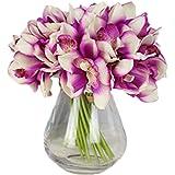 LebriTamFa 12 PCS High Quaulity Latex Real Touch Cymbidium Orchid Artificial Flower Bouquet for Wedding Holiday Bridal…