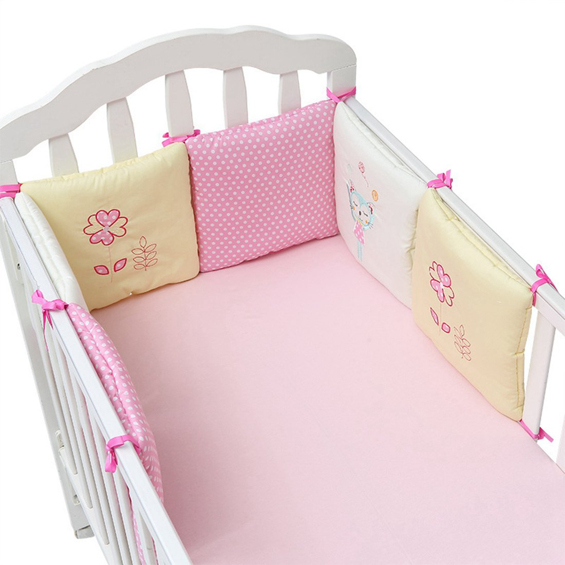 Neobang Cot Bumpers Breathable Padded Crib Bumper Set Crib Liner Cradle Rail Guard 6PCs Beige