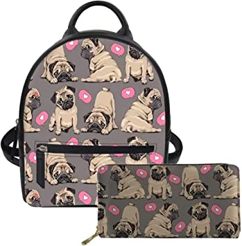 Advocator Pug Mini Backpack Purse for Teen Girls Fashion Backpack Wallet Set