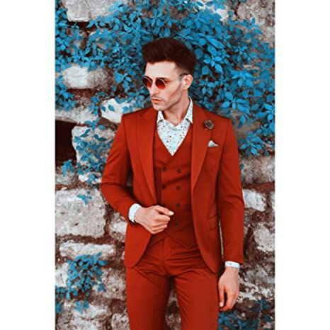 GFRBJK Trajes de Boda para Hombre Traje de Hombre Rojo ...