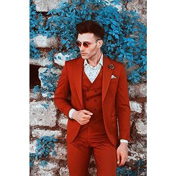 GFRBJK Trajes de Boda para Hombre Traje Rojo para Hombre Blazer ...