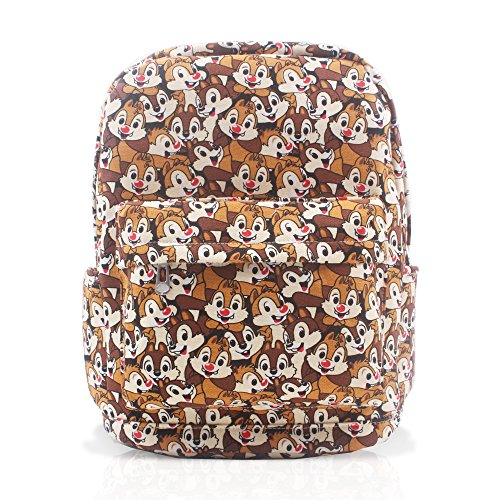 Finex Chip and Dale Brown Canvas Backpack with Laptop Storage Compartment for School College Daypack Causal Travel Bag