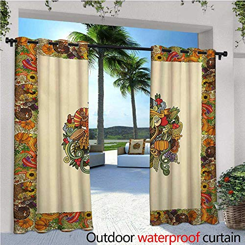 Thanksgiving Outdoor- Free Standing Outdoor Privacy Curtain Pumpkin Wreath Bow Cranberry Leaves Ivy Corn Basket Traditional Pattern Fall for Front Porch Covered Patio Gazebo Dock Beach Home W84 x L1 -