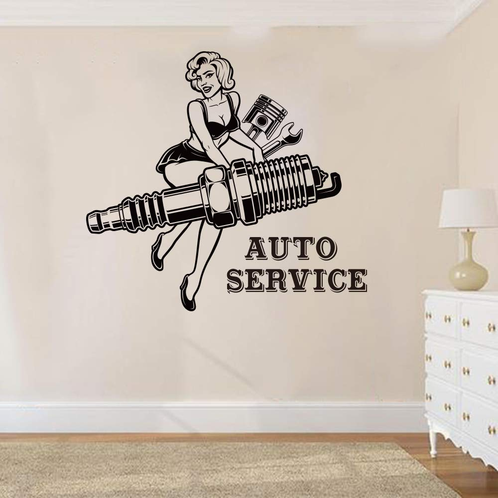 yiyitop Girl Auto Service Repair Etiqueta de la Pared Garaje ...