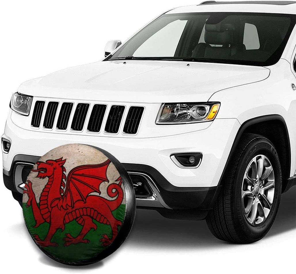Kaixin J Tire Cover Wales Flag Polyester Universal Spare Wheel Tire Cover Wheel Covers For Jeep Trailer RV SUV Truck Camper Travel Trailer Accessories 16 inch