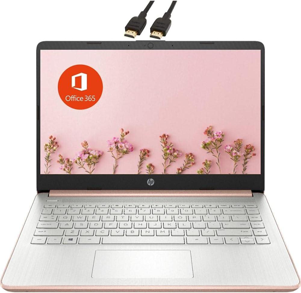 2021 Newest HP Premium 14-inch HD Laptop| Intel Celeron N4020 up to 2.8GHz 4GB RAM 64GB eMMC SSD| Webcam Bluetooth HDMI USB-C Wi-Fi| Windows 10 S with 1 Year Microsoft 365| VAATE Bundle| Rose Gold