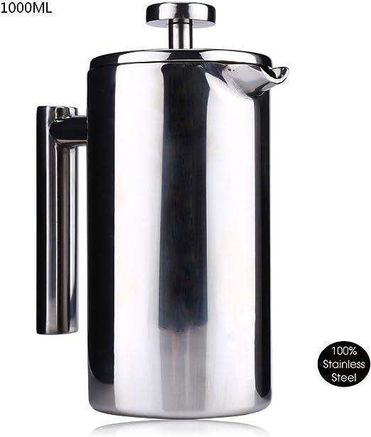 Termo de café té cafetera prensa francesa, filtro de doble pared 18/8 acero inoxidable resistente al calor 1000 ml té o cafetera eléctrica: Amazon.es: Hogar