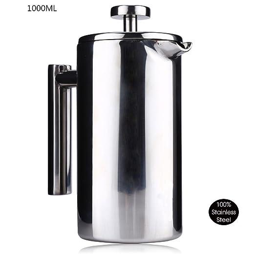 Termo de café té cafetera prensa francesa, filtro de doble pared ...