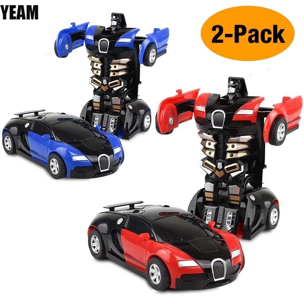 Toys Car 2 Packs, Kids Toys Robot Transformers One Step(Blue and Red)) YEAM