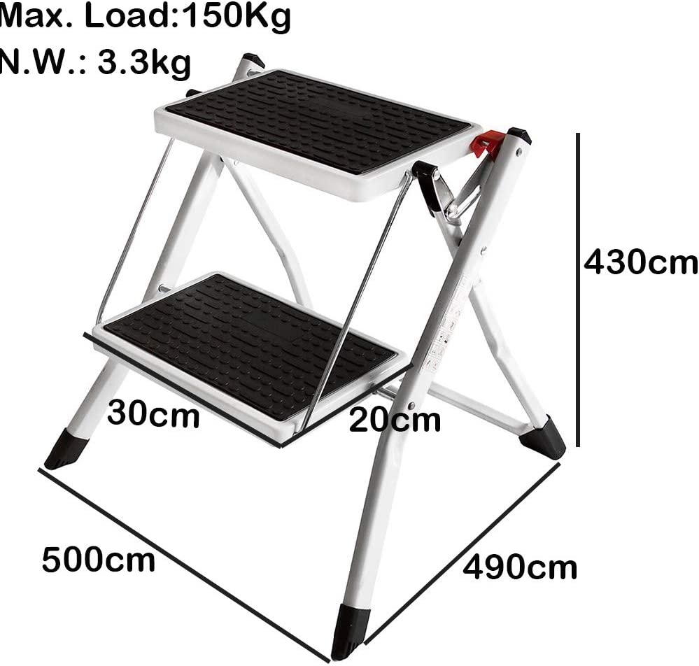 Idea for Elder Person 150kg Capacity Non Slip 4 Step Ladder with Safety Handrails Folding Portable Stepladder Heavy Duty Metal Steel Compact for Home Office