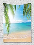 Beach Tapestry Tropical Ocean Decor by Ambesonne, Surf Tourism and Thailand Relaxation Holiday Photos Print, Bedroom Living Kids Girls Boys Room Dorm Accessories Wall Hanging Tapestry, Turquoise Ecru