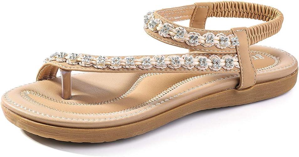 gracosy Sandales Femmes Plates, Tongs Chaussures Été Nu Pieds à Talons Plats Claquettes Plage Bride Cheville Sandales Compensées Confortables Strass