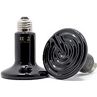 60W 2 Pack Ceramic Heat Lamp, Pet Infrared Bulb Emitter Lamp No Harm No Light Heat Lamp Bulb for Pet Brooder Coop…