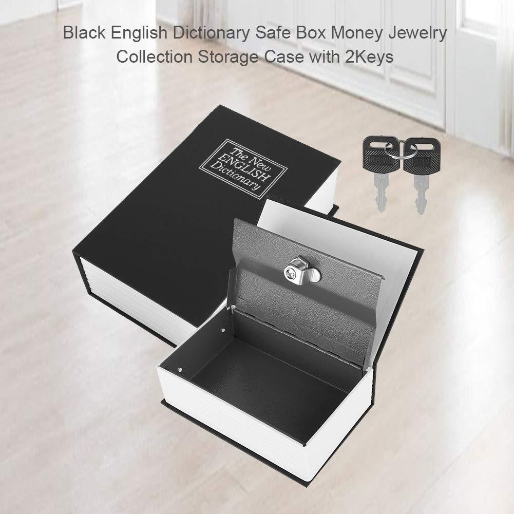 Schwarz Englisch W/örterbuch Safe Box Geld Schmuck Sammlung Aufbewahrungskoffer mit 2Keys Safe Box