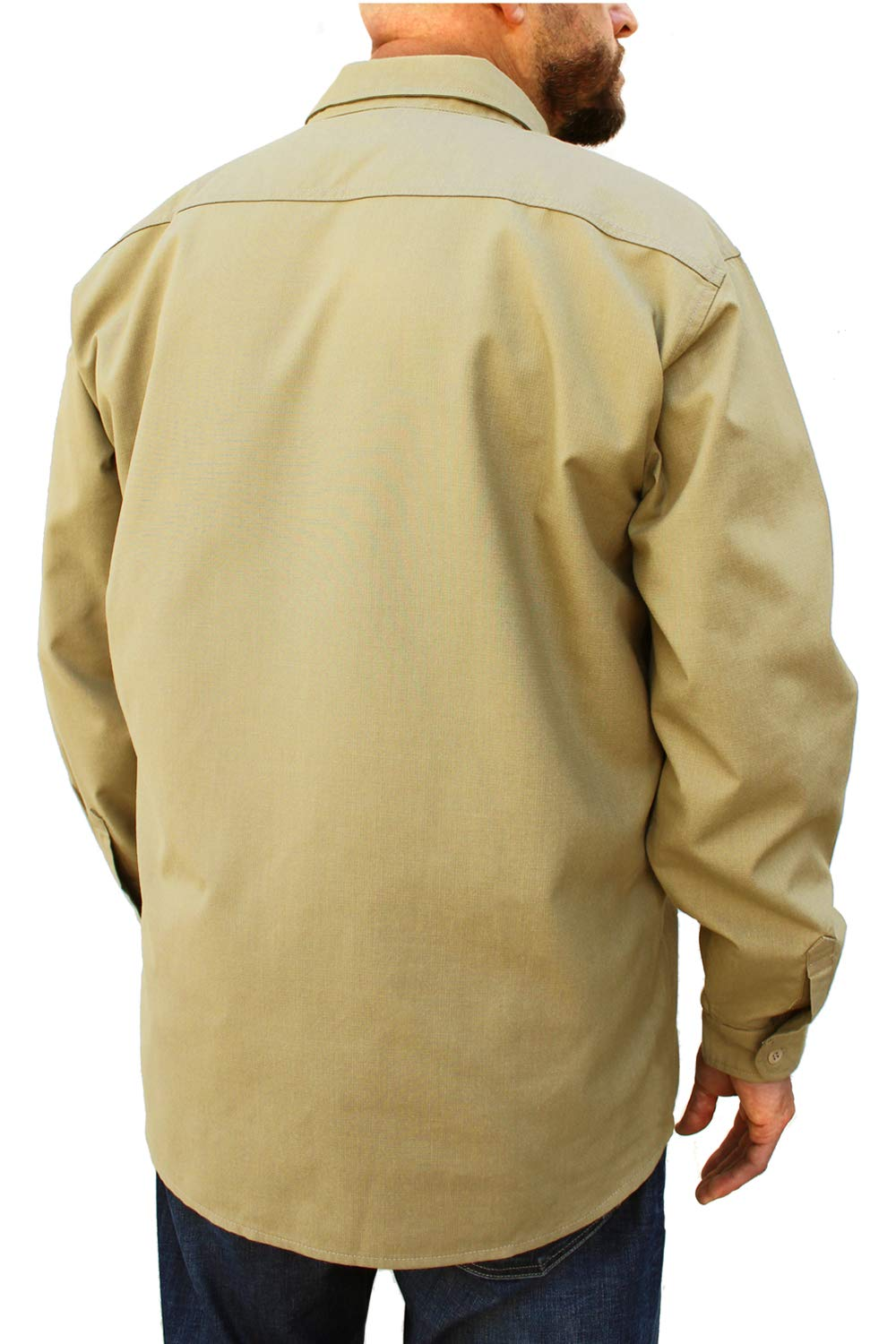 Benchmark FR Silver Bullet, 5.1 oz Ultra Lightweight FR Shirt, NPFA 2112 & CAT 2, Moisture Wicking, Men's FRC with 9 Cal rating, Made in USA, Advanced FR Materials, Beige, Large by Benchmark FR (Image #5)