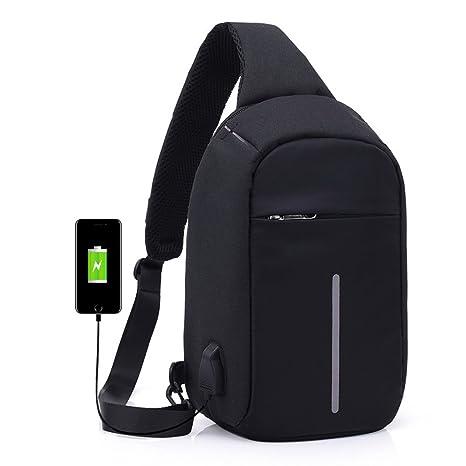 a7bbfa4b9486 Fengtu Sling Chest Bag USB Charging Port Crossbody Lightweight Casual  Daypack for Women Men Hiking Cycling