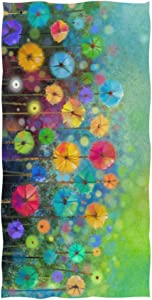"Naanle Colorful Floral Print Watercolor Painting Abstract Spring Flower Green Meadows Seasonal Nature Soft Bath Towel Absorbent Hand Towels Multipurpose for Bathroom Hotel Gym and Spa 30""x15"""
