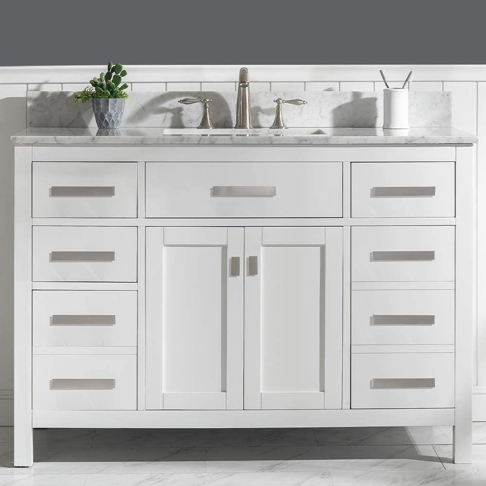 Luca Kitchen Bath Lc48pww Tuscan 48 Single Bathroom Vanity Set In Pure White With Carrara Marble Top And Sink Amazon Com