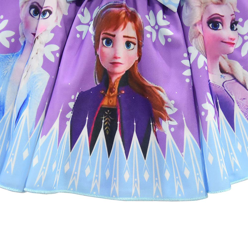 FUNTEKS Toddler Baby Girls Swimsuits Two Piece Doll Print Ruffle Swimwear Bathing Suit for Snow Queen