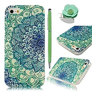 Sunshine Case 5S Case iPhone 5 Case Coloful Painted PC Protective Case for iPhone 5 5S Cover Case +1x Stylus Pen +1x Auti Dust Plug - Totem Flower Green